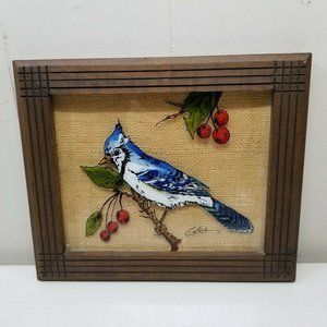 Blue Jay Framed Glass Picture by Linda Hand Paint